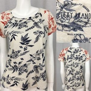 Size Large Lucky Brand Floral Short Sleeve T-shirt